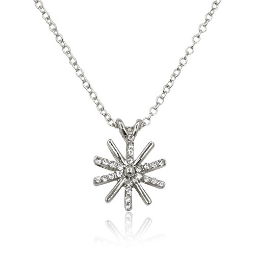 Dwcly Gold Tone Clear Crystal Sunflower Tiny Sun Necklace Elegant Shining Collarbone Necklace (SILVER)