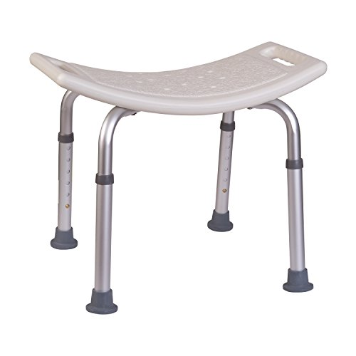 HealthSmart Compact Lightweight Bath and Shower Bench Stool with Adjustable Height, White