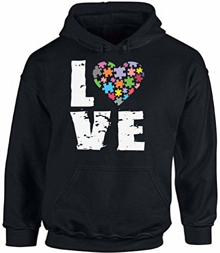 Awkward Styles Autism Love Puzzle Hooded Sweatshirt Autism Awareness Hoodies Black ()