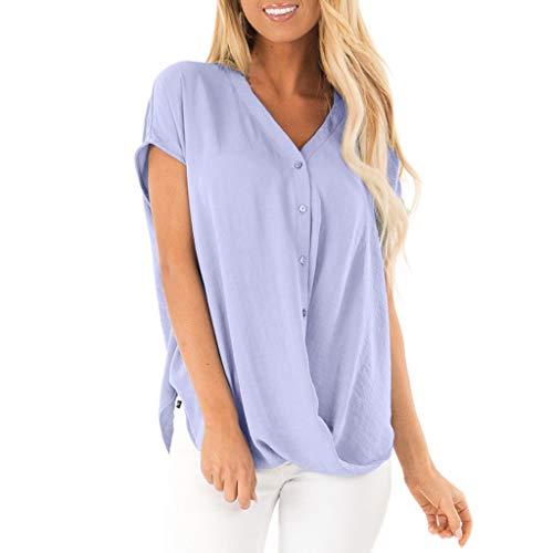 TIFENNY Loose Bat Sleeve Shirts for Women Summer Short Sleeve Chiffon Blouse T Shirt Casual V Neck Button Tops Purple]()