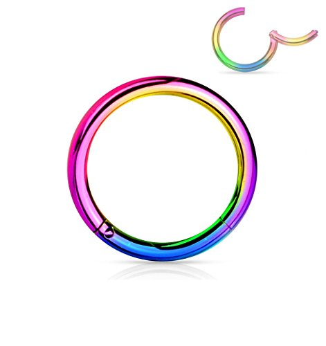 Forbidden Body Jewelry 16G 8mm Surgical Steel Hinged Easy Use Hassle Free Seamless Hoop Body Piercing Ring, - Metal Surgical