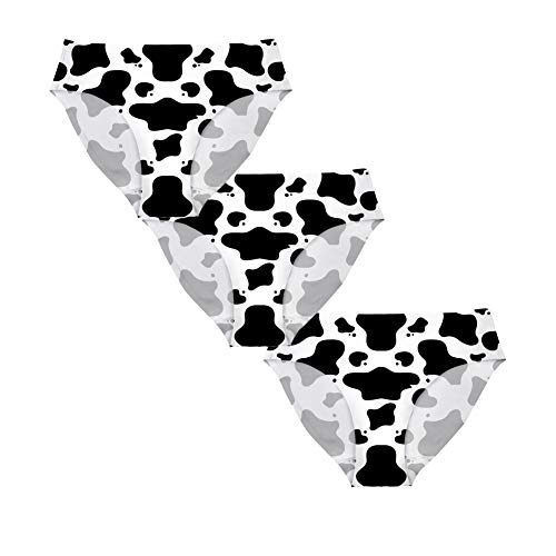 FOR U DESIGNS Hipster Panty 3-Pack,Cute Black and White Cow Spot Pattern Underwear Panties for Womens 3 - Cow White Charm