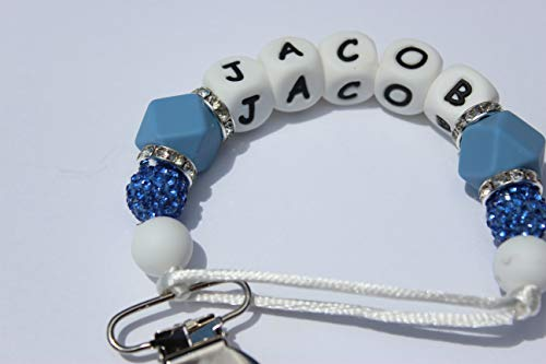 Personalized Pacifier Clip with Name - Engraved Pacifier Clip, 3 Different Colors - Same Day Dispatch, Silicone and Shamballa Beads (Blue)