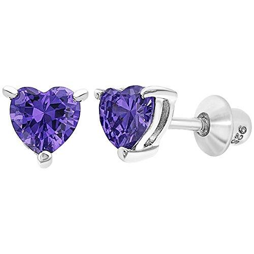 925 Sterling Silver Heart Baby Earrings Screw Back Girls Toddlers Purple CZ