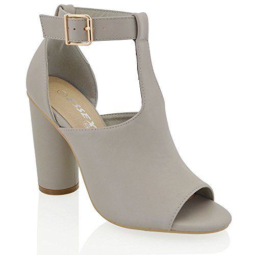 Essex Glam Women's Cylindrical block heel peep toe T-Bar Grey Synthetic Leather...