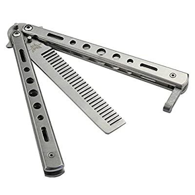 New 1PC Metal Practice Butterfly Comb Style Knife Trainer Tool