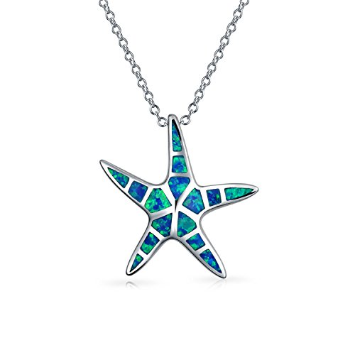 (Starfish Nautical Beach Pendant Blue Inlay Created Opal Necklace For Women For Girlfriend 925 Sterling Silver And Chain)
