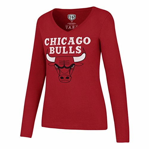 NBA Chicago Bulls Women's OTS Rival Long Sleeve Distressed Tee, Large, Red