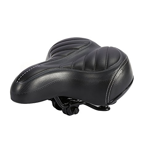 Filfeel Bike Saddle Bicycle Seat with Shockproof Spring & Ultra Soft Cushion for Wide Big Bum, Mountain Road Sport Comfort Pad Seat for Women & Men, High Elasticity PU
