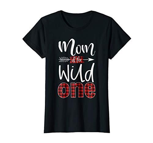 Womens Mom of the Wild One Shirt Plaid Lumberjack 1st Birthday Tee -