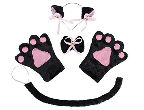 [JustinCostume Cat Cosplay Set Ears Tail Collar Paws, Black] (Halloween Costumes Cat Ears)