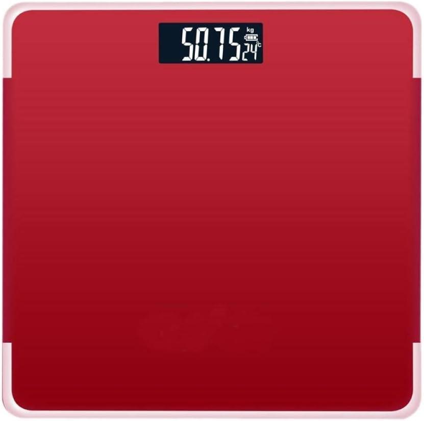 Busirsiz Báscula Inteligente Equipos de excavación, báscula de baño de Cuerpo, balanzas Digitales Peso Humano, Display LCD, 180Kg, Rojo