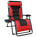 GOLDSUN Oversized Padded Zero Gravity Reclining Chair Adjustable Patio Lounge Chair with Cup Holder for Outdoor Beach Porch,Swimming Pool (Red)