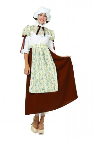 [Colonial Woman Costume (Brown;Medium)] (Colonial Costumes Dress Lady)