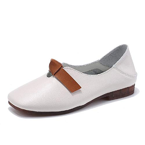 Bianca Women Shoes 37 Dimensione Leather Ballet Casual Eu colore Flats Knot Soft Qiusa Bianca On Slip wt4RZqFZnx