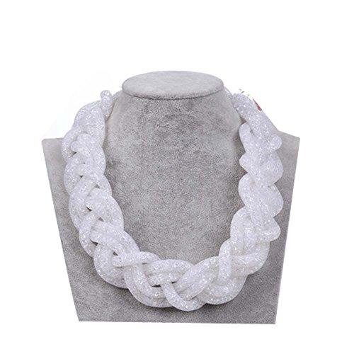 Darkey Wang Women's Fashion Atmosphere Multilayer Network With Diamond Braided Rope Necklace(White)