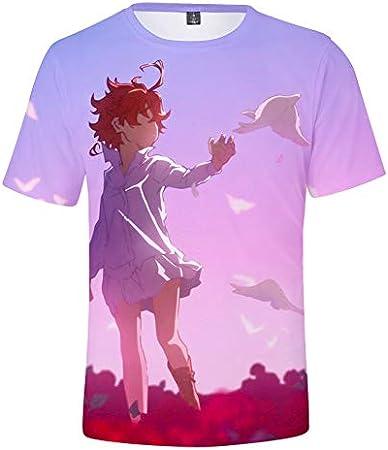 GuiSoHn Hombre Mujer Camiseta de Manga Corta 3D The Promised Neverland Imprimió T-Shirt Tops Cosplay