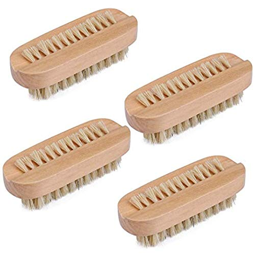 Cleaning Nail Brush Wood 2 Side with Natural Boar Bristle for Manicure Pedicure Women Kids 4 Pack