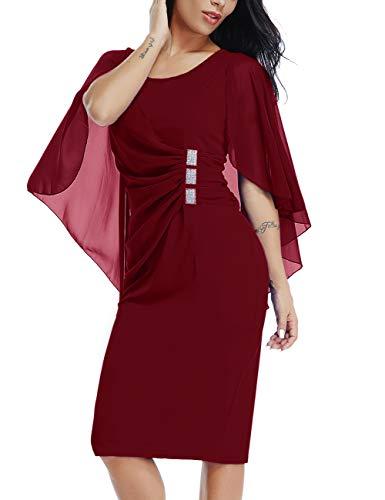 Dean Fast Plus Size Womens Chiffon Sleeve Round Neck Formal Cocktail Party Midi Dress with Rhinestone Detail Wine XXL