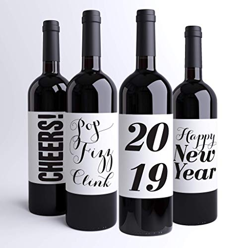 New Years Eve Champagne Wine Bottle Labels 2019 NYE Party Decor Favor | Hostess Gift | Cheers Pop Fizz Clink | Handmade in USA for $<!--$14.95-->