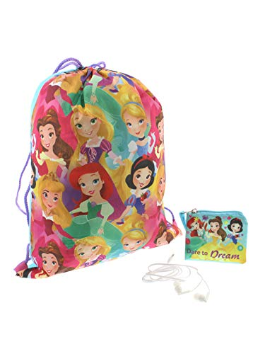 Disney Princess Girls Backpack Headphones and Coin Purse Boxed Gift Set (Princess Pink/Multi)