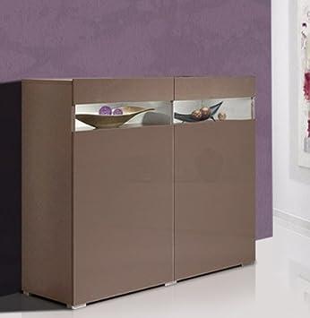 Sideboard Kommode Grau Cappuccino Hochglanz Amazon De Kuche Haushalt