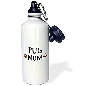 3dRose wb_154178_1 Pug Dog Mom-Doggie By Breed-Muddy Brown Paw Prints-Doggy Lover-Proud Pet Owner Mama Love Sports Water Bottle, 21 oz, White