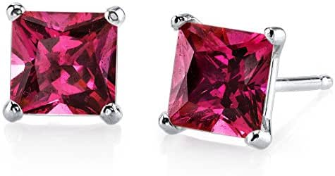 14 Karat White Gold Princess Cut 3.00 Carats Created Ruby Stud Earrings