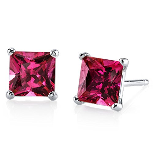 White Gold Princess Cut Ruby (14 Karat White Gold Princess Cut 3.00 Carats Created Ruby Stud Earrings)