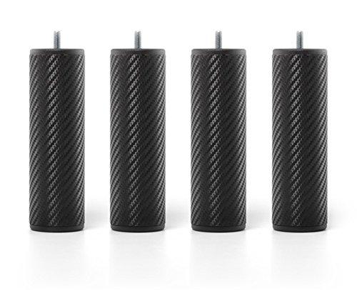 myQuintus Premium Set di 4 Piede di Letto, Metallo, Nero, 6 x 6 x 20 cm 6x 6x 20cm QP-04-CA-1170-200D60