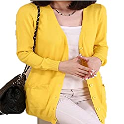 Molif Women Spring Autumn Long Cardigan Cashmere Material Loose Sweater Outerwear Coat With Pockets Yellow M