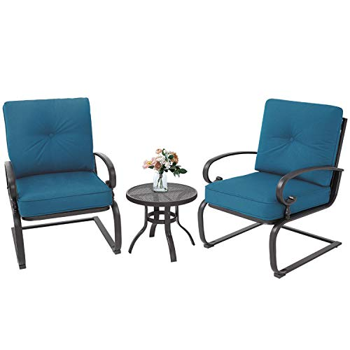 Incbruce Outdoor Indoor 3Pcs Patio Bistro Set Springs Motion Chairs and Bistro Round Table Set, Wrought Iron Conversation Set with Cushions (Peacock Blue)