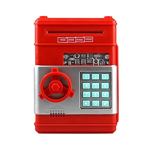 Electronic Automatic Rolling Banknote Pig Bank ATM Password Money Box,Cash Coins Saving Box ATM Bank Saving Safe,Suit for Kids,Youth,Etc (Red)