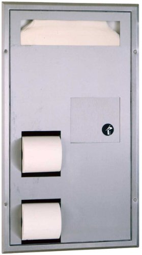 Bobrick 3571 ClassicSeries 304 Stainless Steel Partition Mounted Dual Roll Seat Cover and Toilet Tissue Dispenser, Satin Finish, 15-1/2'' Width x 28-7/8'' Height by Bobrick