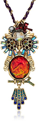 - Betsey Johnson Surreal Forest Colorful Owl Pendant Necklace