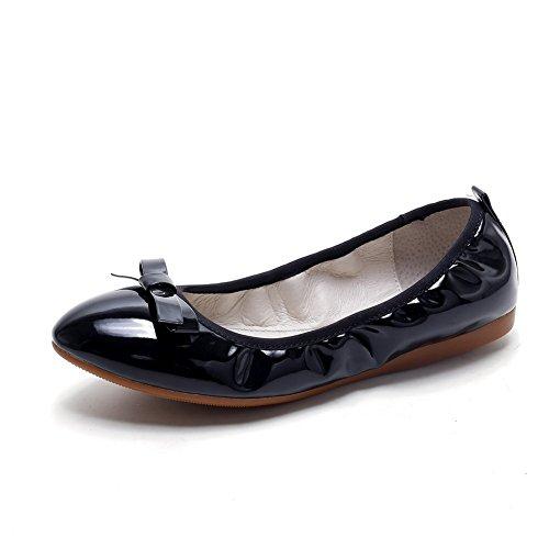 Amoonyfashion Damesschoen Zonder Hak Lakleder Massief Puntig Gesloten Teen Platte Schoenen-schoenen Zwart