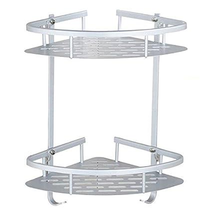 Amazon.com: Bathroom Corner Shelves, Aluminum Alloy Anodised 2-Tier ...
