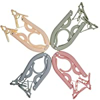 Travel Hangers,Folding Hanger,Travel Hangers Foldable,4 PCS Portable Folding Clothes Hangers with Clips for Travel Accessories,Foldable Shirts Socks Underwear Drying Rack Clothes Hangers for Travel