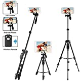 LOVAIN 51 Inches Stable Tripod Stand, Camera Mobile Cell Phone Tablet Selfie Stick Tripod With Aluminum Alloy Rod Wireless Remote, For iPad/iPhone Xs/Xs Max/Xr/8/7/6/6s Plus/GoPro Hero Smartphone