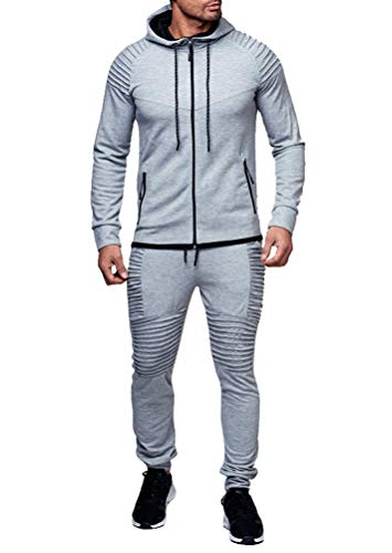 (Heartell Men's 2 Piece Tracksuits Pleated Jogger Pants + Long Sleeve Zipper Hoodie Solid Color Sports Suit)