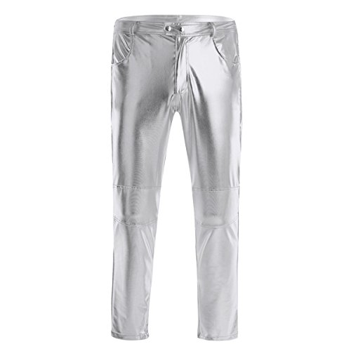 (FEESHOW Mens Faux Leather Metallic Shiny Moto Biker Tight Pants Clubwear Leggings Long Trousers M-4XL Silver Medium)