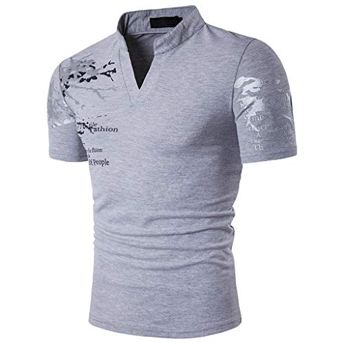 Mens Stylish Pattern Tee Shirt Slim Fit V-Neck Short Sleeve Muscle Casual Tops Gray