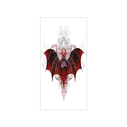 rivacy Window Film No Glue,Vampire,Round Figure with Dragon Wings Grungy Display Victorian Ornaments Antique Style Decorative,Red Grey Black,for Home&Office ()