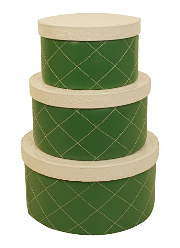 Wald Imports Green & White Paper Board & Faux Leather  Decorative Round Storage Boxes, Set of 3