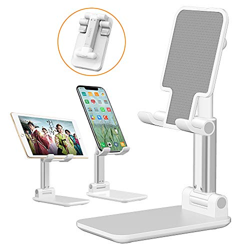 LOBKIN Phone Stand for Desk, Foldable Portable Adjustable Tablet Cell Phone Holder Charging Dock Cellphone Holder Office, Sturdy Mobile Stand Hand Metal Desktop iPhone Stand (White)