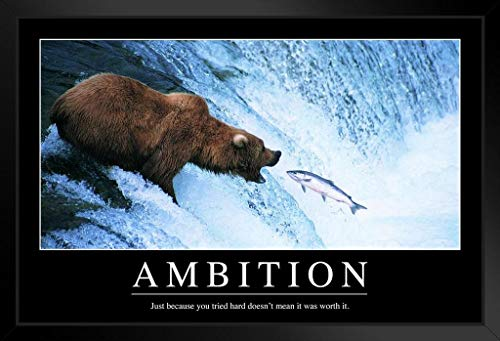 Upstream Framed - Ambition Bear Fish Funny Demotivational Framed Poster 14x20 inch