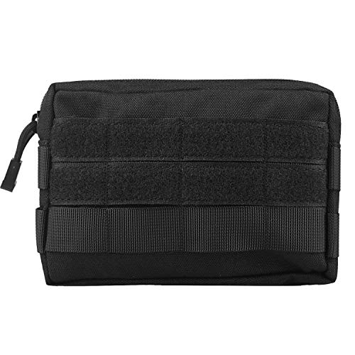 Infityle MOLLE Pouches - Compact Water-Resistant Multi-Purpose Tactical EDC Utility Gadget Gear Hanging Waist Bags(Horizontal Rectangle Pouch,Black) (Tac Vest Pouches)