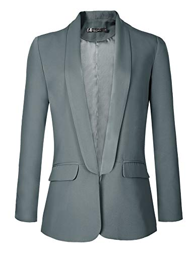 Urban CoCo Women's Office Blazer Jacket Open Front (XL, Greyish Blue)