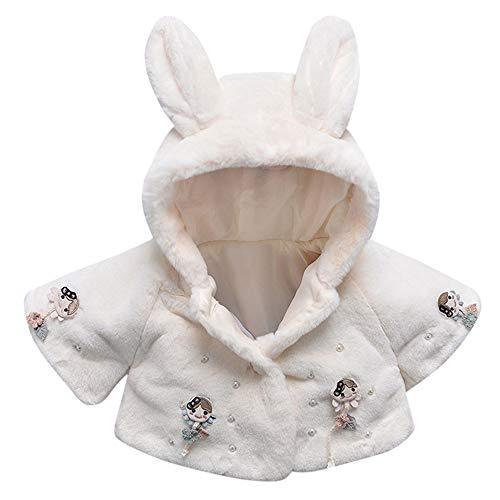- Birdfly Baby Infant Girls Fall Winter Hooded Coat Thick Warm Winter Lamb Rabbit Ears Cloak Jacket (12M, White)