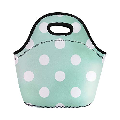 Vintage Valentine Clipart - Semtomn Lunch Tote Bag Huge White Polka Dots on Retro Vintage Mint Green Reusable Neoprene Insulated Thermal Outdoor Picnic Lunchbox for Men Women